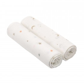"Muslin Swaddle Set ""Moon and Stars Gold"" Lässig"