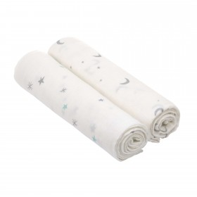 "Muslin Swaddle Set ""Moon and Stars Silver"" Lässig"