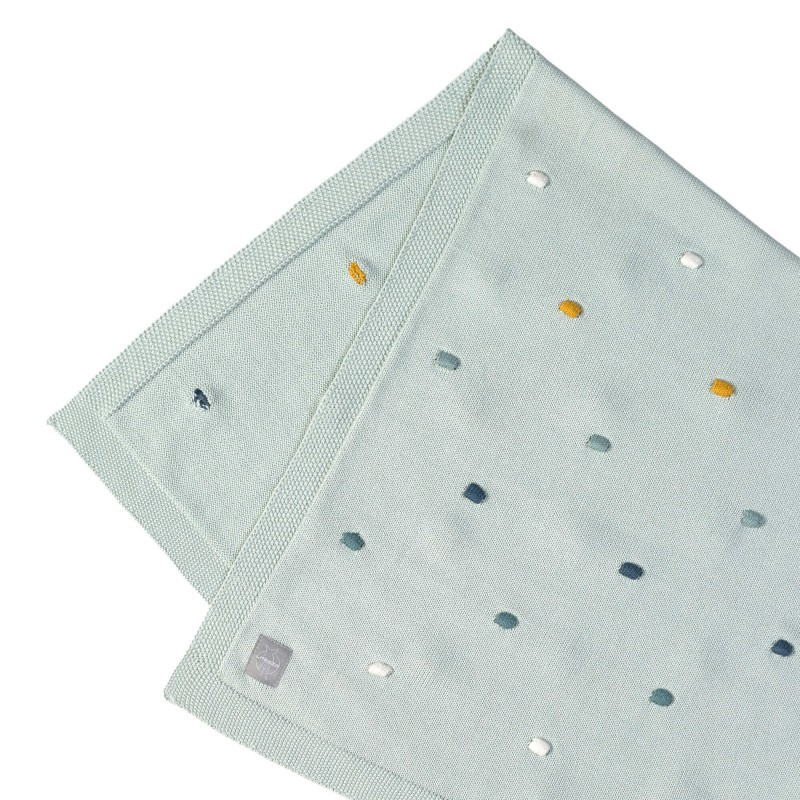 Baby Knitted Blanket Dots Mint Lässig